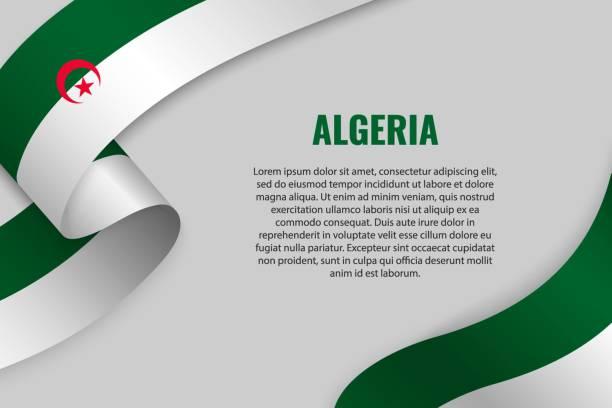 揮舞著旗幟的絲帶 - 阿爾及利亞 幅插畫檔、美工圖案、卡通及圖標