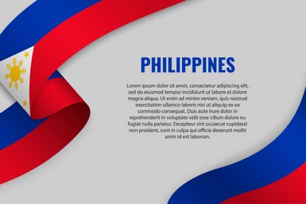 stockillustraties, clipart, cartoons en iconen met lint met vlag zwaaien - filipijnen