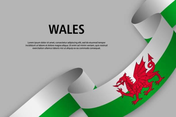 waving ribbon with flag, vector illustration - wales stock illustrations, clip art, cartoons, & icons