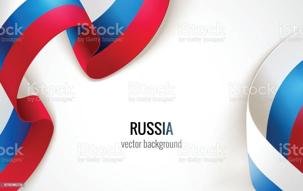 Waving russian flag on white background. vector art illustration
