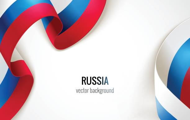 waving russian flag on white background. - russian flag stock illustrations, clip art, cartoons, & icons