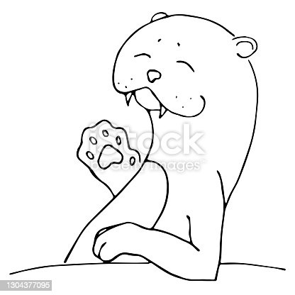istock Waving smiling cute sea otter character, or aonyx cinerea or walrus sketch. Hand drawn vector image black on white background. Animals 1304377095