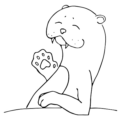 Waving smiling cute sea otter character, or aonyx cinerea or walrus sketch. Hand drawn vector image black on white background. Animals