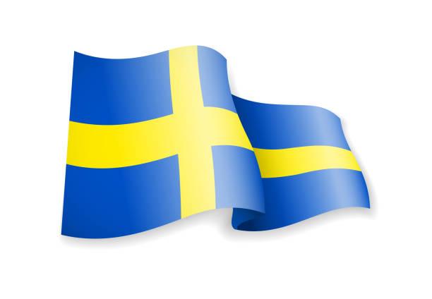 ilustraciones, imágenes clip art, dibujos animados e iconos de stock de ondeando la bandera de suecia sobre fondo blanco. - bandera sueca