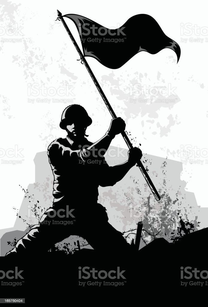 waving the flag vector art illustration