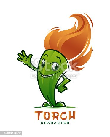 Torch character mascot. Flaming head torch with waving hand