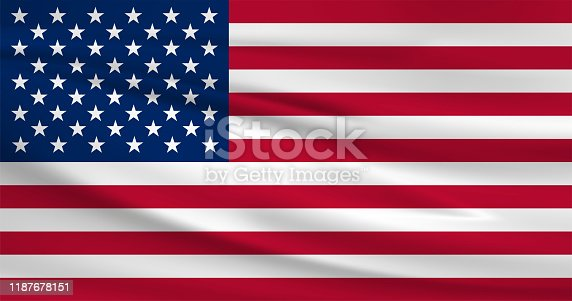 istock Waving United States flag, official colors and ratio correct. United States national flag. Vector illustration. 1187678151