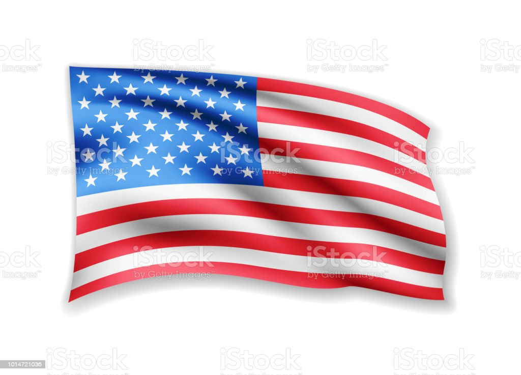 e87aef75f12 Waving USA Flag on white. American Flag in the Wind. royalty-free waving