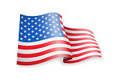 Waving USA flag on white background.