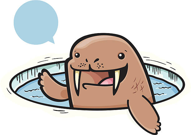 Waving Walrus vector art illustration