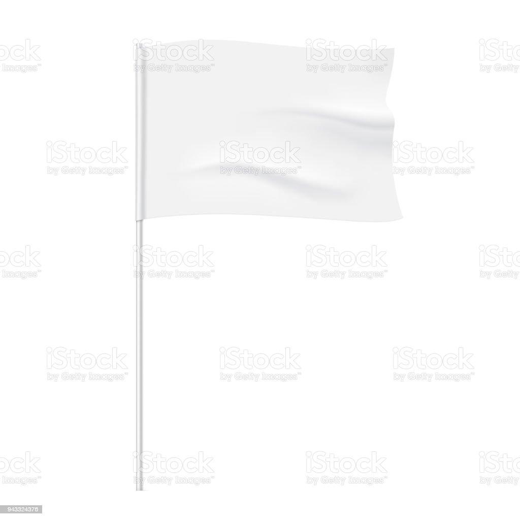 Waving white flag template. vector art illustration