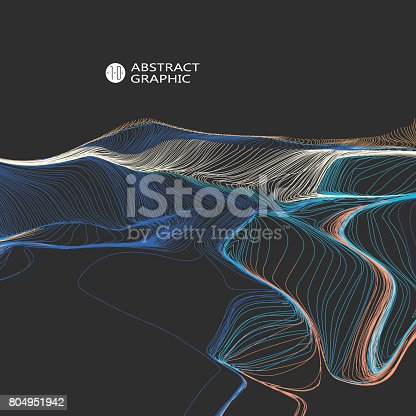 Wavy abstract graphic design, vector background.