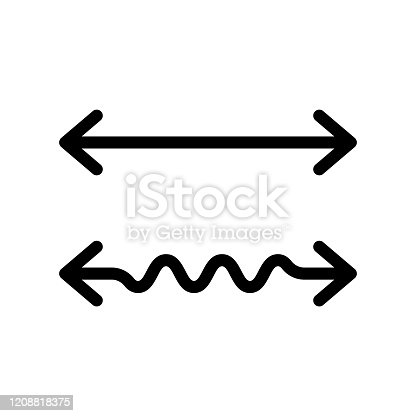 Wavy and straight double arrow. Thick linear icon. 2 side arrows for illustration of horizontal stretching or squeezing. Black simple symbol for measuring. Contour isolated vector on white background