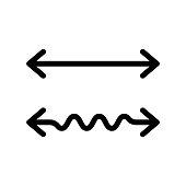 Wavy and straight double arrow