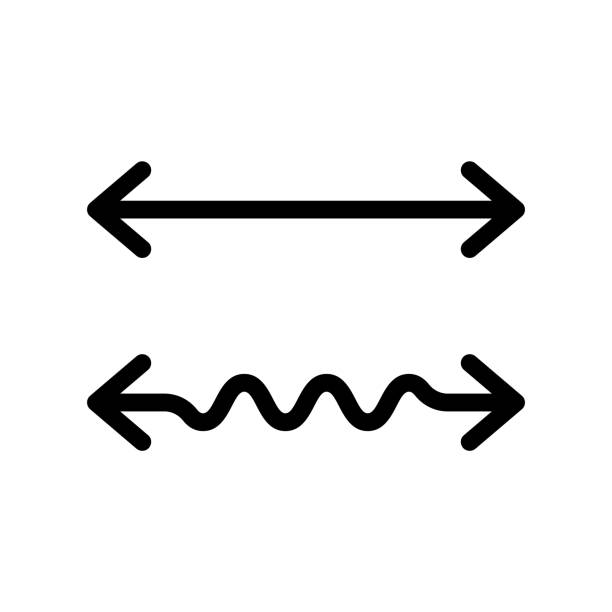 Wavy and straight double arrow Wavy and straight double arrow. Thick linear icon. 2 side arrows for illustration of horizontal stretching or squeezing. Black simple symbol for measuring. Contour isolated vector on white background finishing stock illustrations