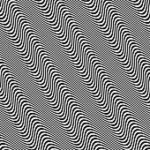 3D wavy background. Dynamic effect. Black and white design. Pattern with optical illusion. Vector illustration.