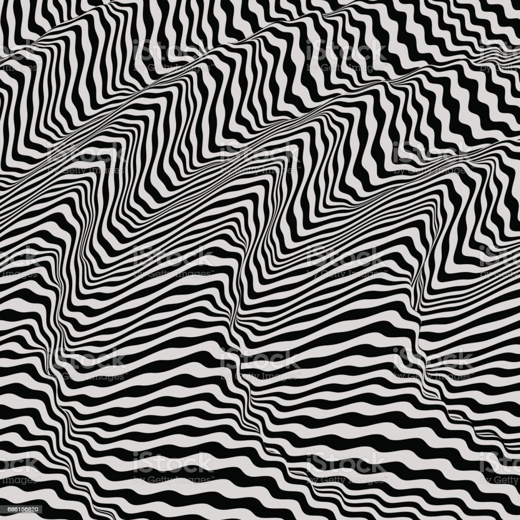 Wavy Background Dynamic Effect Black And White Design Pattern With