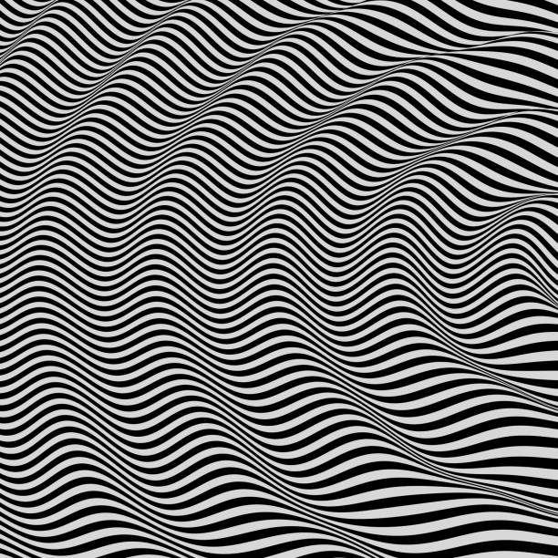3D wavy background. Dynamic effect. Black and white design. Pattern with optical illusion. Vector illustration. 3D wavy background. Dynamic effect. Black and white design. Pattern with optical illusion. Vector illustration. shock stock illustrations