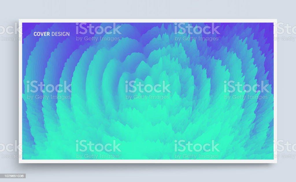 Wellig 3dhintergrund Mit Dominoeffekt Coverdesignvorlage