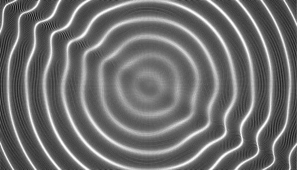 wellig 3d-hintergrund mit domino-effekt. vektor-illustration mit partikelfilter. 3d oberfläche. - schütteln stock-grafiken, -clipart, -cartoons und -symbole