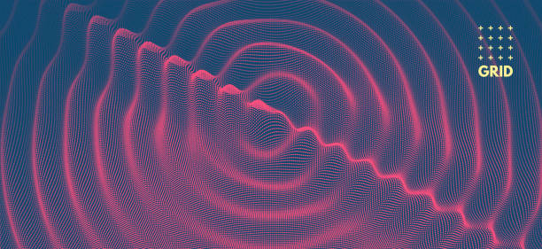 3D wavy background with ripple effect. Vector illustration with particle. 3D grid surface. vector art illustration