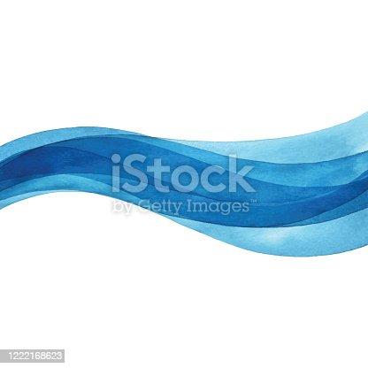 istock Wavy Blue Watercolor 1222168623
