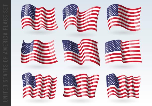 USA wellige Flaggen Set. Us-Patriotisches Nationalsymbol. Satz von amerikanischen Flagge. ikone. druck. Vektor-Illustration. Isoliert auf weißem Hintergrund. – Vektorgrafik