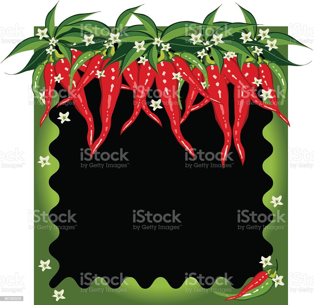Wavy frame with chili pepper lined top royalty-free stock vector art