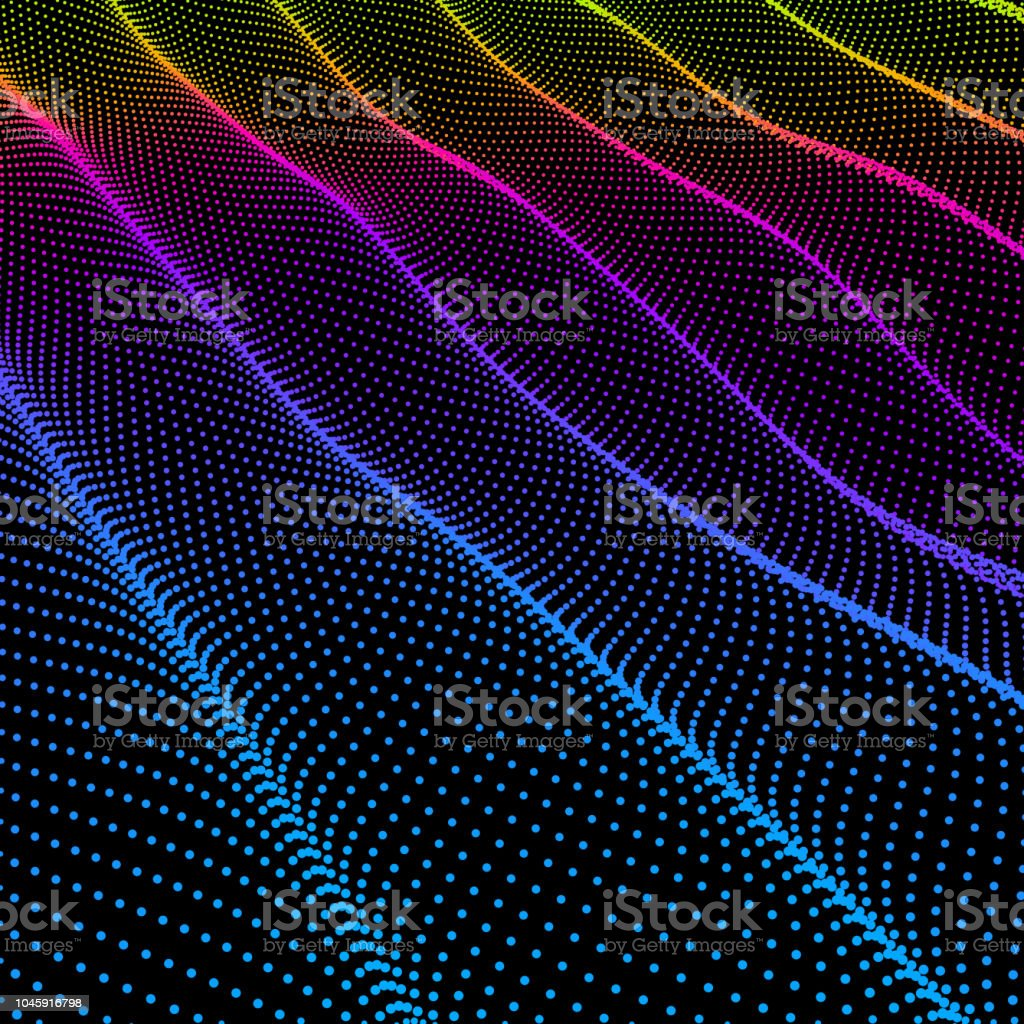 Gewelltes Gitter Hintergrund 3d Abstract Vector Illustration