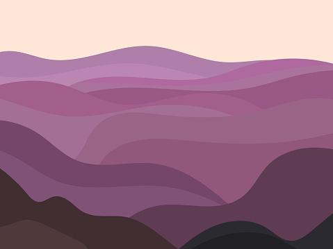 Paisaje ondulado en un estilo minimalista. Paisaje con colinas. Decoración Boho para estampados, carteles y diseño de interiores. Decoración moderna de mediados del siglo XVIII. Estilo de tendencia. Ilustración vectorial