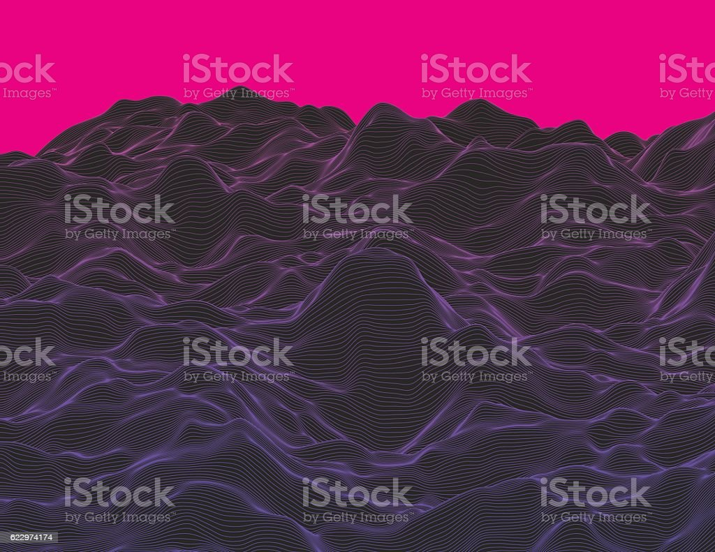 Wavy linear landscape vector art illustration