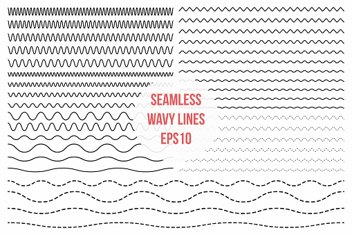 Wavy lines set. Horizontal seamless thin zig zag, criss cross and wavy lines for brushes clipart