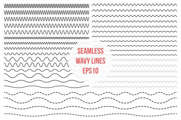 wavy lines set. horizontal seamless thin zig zag, criss cross and wavy lines for brushes - lineart stock illustrations