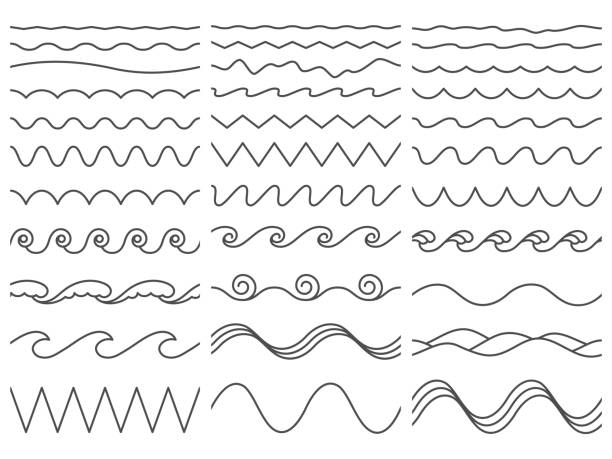 Wavy lines. Wiggly border, curved sea wave and seamless billowing ocean waves vector illustration set Wavy lines. Wiggly border, curved sea wave and seamless billowing ocean waves. Wiggle parallel waves, squiggle horizontal wave border. Vector illustration isolated icons set squiggle stock illustrations