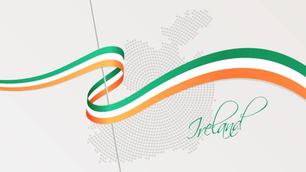アイルランドの波状の国旗と放射状の点線のハーフトーンマップ - アイルランドの国旗点のイラスト素材/クリップアート素材/マンガ素材/アイコン素材