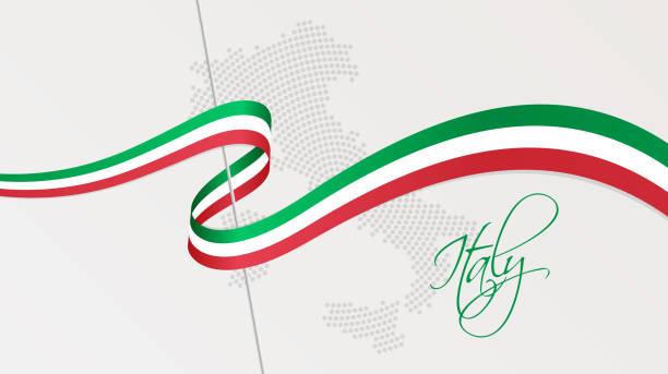 wavy nationalflagge und radial gestrichelte halbtonkarte von italien - italien stock-grafiken, -clipart, -cartoons und -symbole