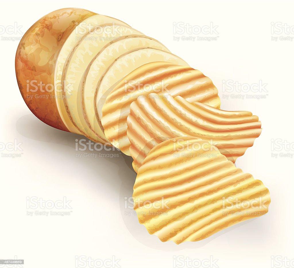 wavy potato chips vector art illustration