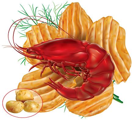 Wavy Potato chips with Shrimp