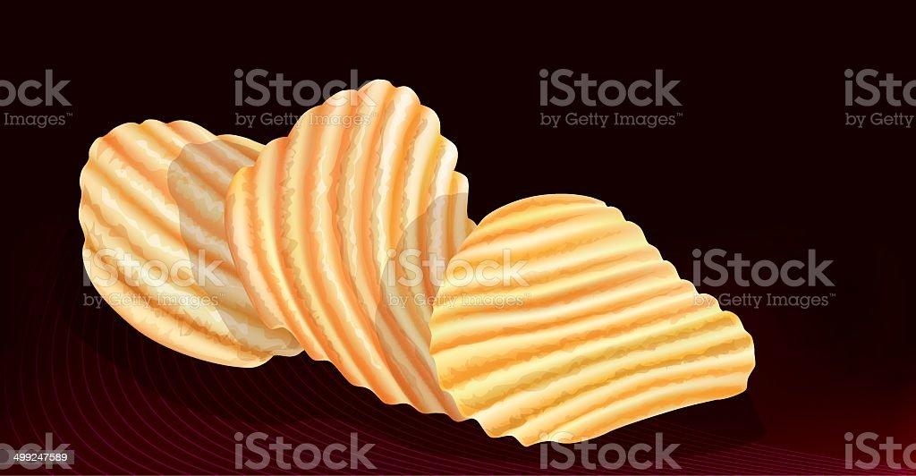 wavy potatos chips on black background vector art illustration