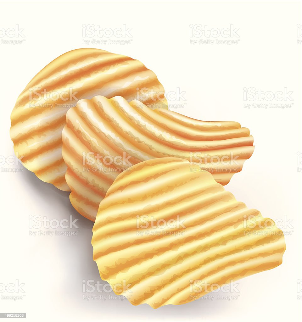 wavy potatos chips on white background vector art illustration