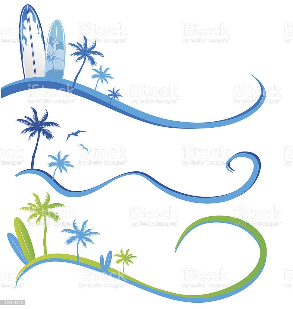 wawe background set  with Palm Tree vector art illustration