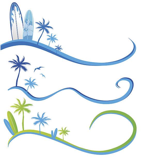 wawe background set  with Palm Tree vector art illustration
