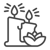 Wax candles and lotus flower line icon, Hygiene routine concept, elements of cosmetology and beauty salon sign on white background, two candles and flower icon in outline. Vector graphics