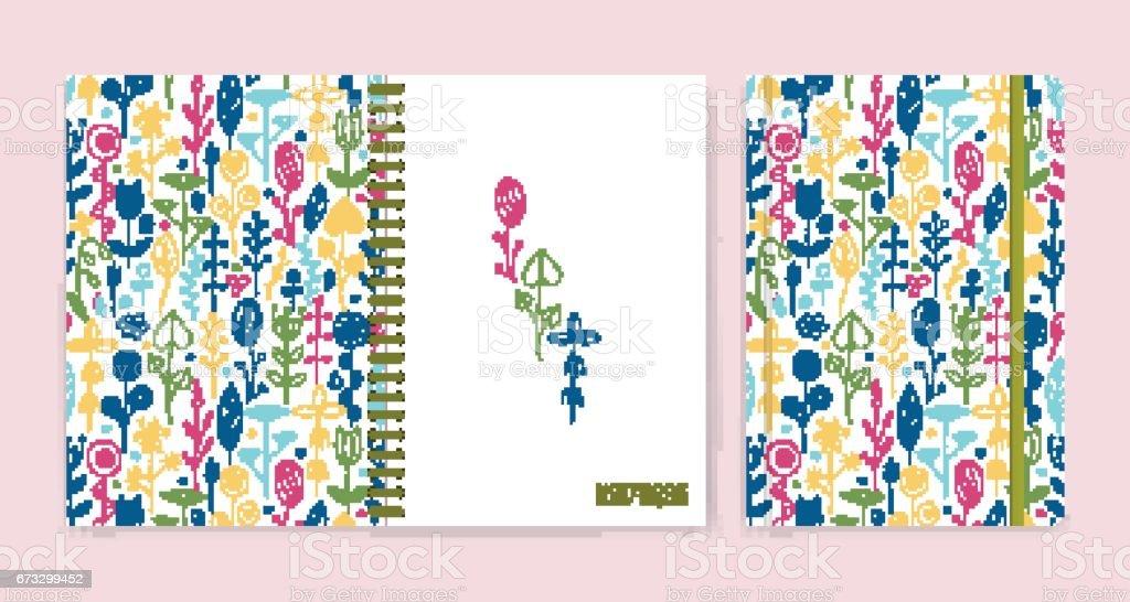 Ilustración de Cera Lápices De Colores Dibujo Doodle Mano Flores ...