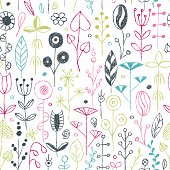 Wax crayon drawing flowers set. Vector illustration.