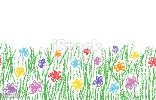 istock Wax crayon hand drawn green grass with color flower 622005458