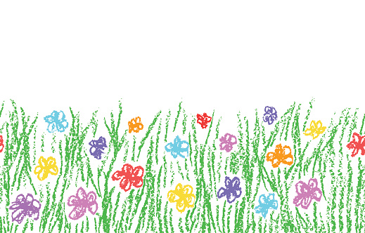 Wax crayon hand drawn green grass with color flower