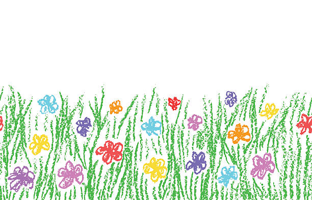 Wax crayon hand drawn green grass with color flower​​vectorkunst illustratie