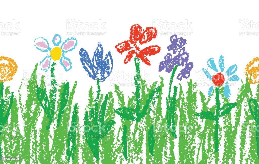 Wachs Kreide Kinder handgezeichnet bunte Blumen mit grünem Gras auf weiß. Nahtlose Kinder gezeichnet Blumen gesetzt. Niedlich von Kindermalerei Frühling und SommerWiese. - Lizenzfrei Baumblüte Vektorgrafik
