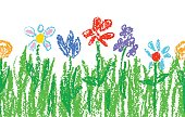 Wax crayon kid`s hand drawn colorful flowers with green grass on white. Seamless child`s drawn flowers set. Cute of kid`s painting spring and summer meadow.